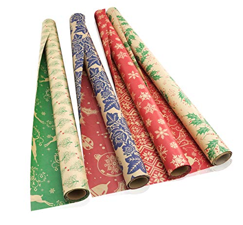 Christmas Wrapping Paper Rolls | Kraft Gift Wrapping Paper with Reversible Designs for Christmas and Holiday Season | 4 Large Rolls (30