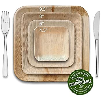 Thynk Leafplates - Premium Palm Leaf Plates - 9.5 Inch Square - All Natural 100% Compostable - Disposable - Perfect Party Plates - 20 Count - Better than ...  sc 1 st  Amazon.com & Amazon.com: 55 Elegant Disposable Plates - Bamboo Wooden Paper - 10 ...