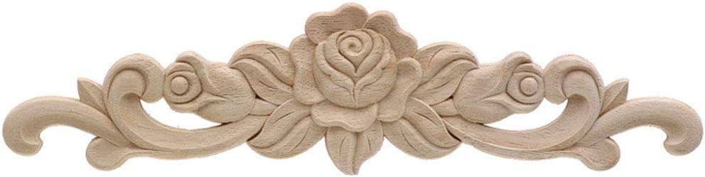 Floral Wood Carved Corner Applique Vintage Wooden Carving Decal for Furniture Cabinet Door Frame Wall Home Decor Crafts 50cmX13cm