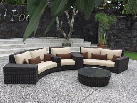 Jardín de nivel bajo de ratán Ingarden curvada juego de sofá ...