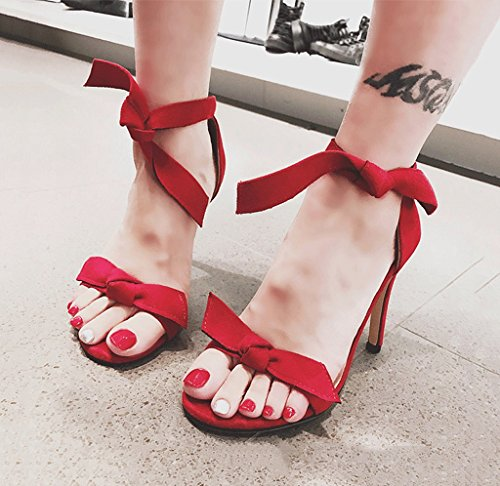 Size Bare Bare Heels Red Suede Fashion Red High Comfortable Sandals Shoes Sexy Feet Women Bowknot 37 Color pw4CBZnxqq