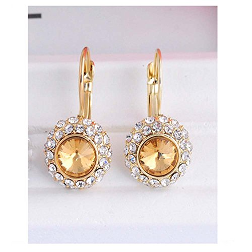 [Luck Wang Lady's Unique Qualities Circular Fashion Crystal Champagne Diamond Earrings(Gold)] (Donut Costume Homemade)