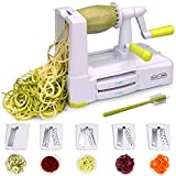vegetable spiral slicer parts - 5-Blade Spiralizer Vegetable Spiral Slicer, Noodle Maker, Fruits and Veggies Slicer for Low Carb/Paleo/Gluten-Free Meals with Labeled Blades and Storage Box, Cleaning Brush (Free Recipe Book)