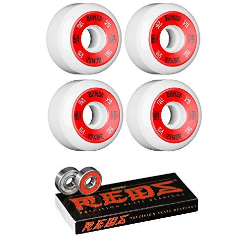 (52mm Bones Wheels 100's #10 Wheels with Bones Bearings - 8mm Bones REDS Precision Skate Rated Bearings - Bundle of 2 items)
