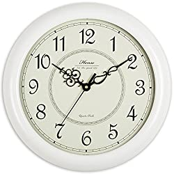 Hense Retro Vintage Living Room Decorative Round Wall Clocks Concise 15-inch Mute Silent Quartz Movement Kitchen Decoration Wall Clock with Sweep Second Hand Solid Wood Wall Clock HW18 (White)