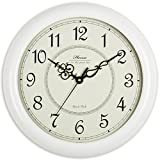 Hense Retro Vintage Living Room Decorative Round Wall Clocks Concise 15-inch Mute Silent Quartz Movement Kitchen Decoration Wall Clock with Sweep Second Hand Solid Wood Wall Clock HW18 (White) For Sale