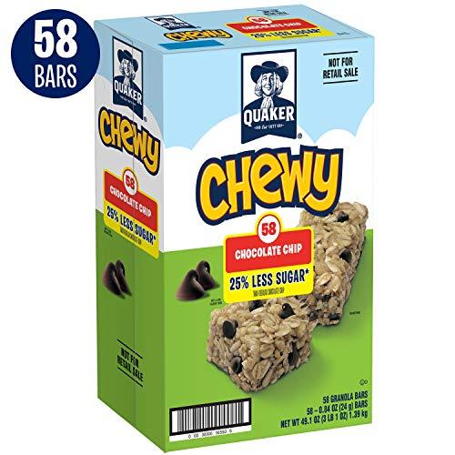 Quaker Chewy Granola Bars, 25% Less Sugar, Chocolate Chip, 58 Bars