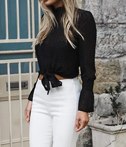 a Nero Donna Moda Tee Maglie Casual con Autunno T Tumblr Bluse Bende Onlyoustyle Camicia Lunga e Top Manica Primavera Corti Maglietta Shirt t86xa1wqf