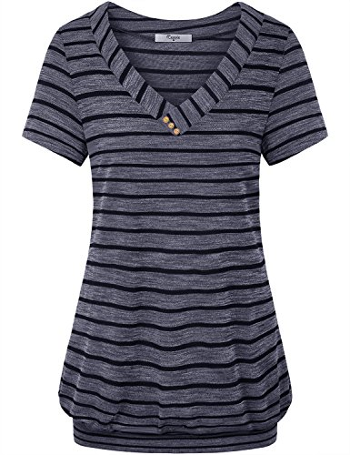 Cestyle Misses Tops,Womens Casual Knit Shirts Laides V Neck Short Sleeve Botton Embellished Stripe Tunic Tshirts Tees Leisure Going Out Fashion Blouses 2018 Dark Blue Large ()