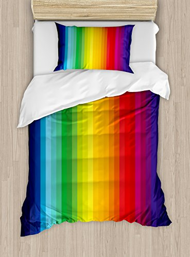 Ambesonne Rainbow Duvet Cover Set Twin Size, Rainbow Inspire