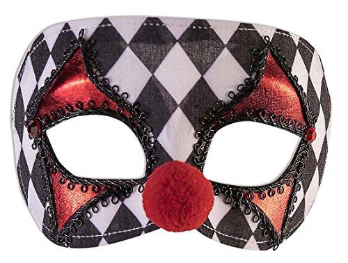 Half Clown Mask (Forum Novelties 81296 Unisex-Adults Mask-Checkered Clown, Black, White, Standard,)