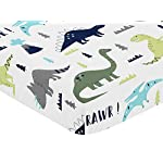 Sweet-Jojo-Designs-Fitted-Crib-Sheet-for-Blue-and-Green-Modern-Dinosaur-BabyToddler-Bedding-Set-Collection-Dinosaur-Print