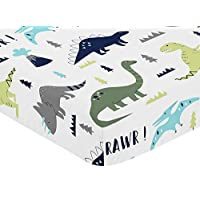 Fitted Crib Sheet for Blue and Green Modern Dinosaur Baby/Toddler Bedding Set...