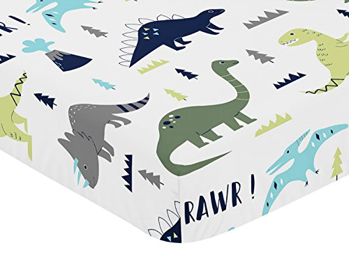 Sweet Jojo Designs Fitted Crib Sheet for Blue and Green Modern Dinosaur Baby/Toddler Bedding Set Collection - Dinosaur Print by Sweet Jojo Designs