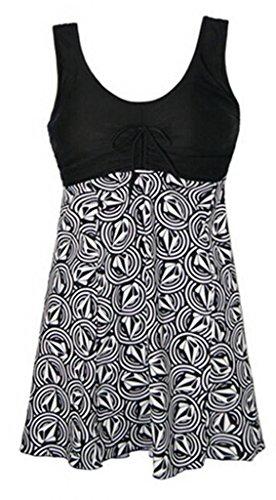 FOUNDO Womens Push-up One-piece Swim Dress Swimsuit Bikini (US 18-20W,Geometric)