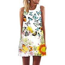 Yang-Yi Clearance, Hot Women Spring Summer Vintage Boho O-Neck Sleeveless Beach Printed Short Mini Dress