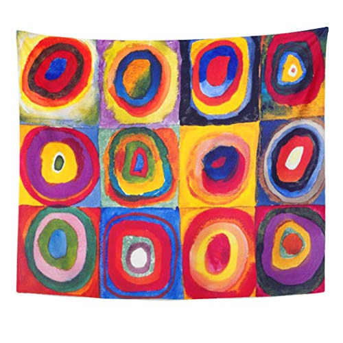 Wassily Kandinsky Artwork - Semtomn Tapestry Artwork Wall Hanging Colorful Wassily Kandinsky Concentric Circles Colourful Round 50x60 Inches Home Decor Tapestries Mattress Tablecloth Curtain Print