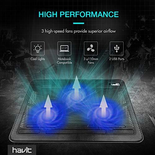 Havit HV-F2056 15.6''-17'' Laptop Cooler Cooling Pad - Slim Portable USB Powered (3 Fans) (Black+Blue) by Havit (Image #6)