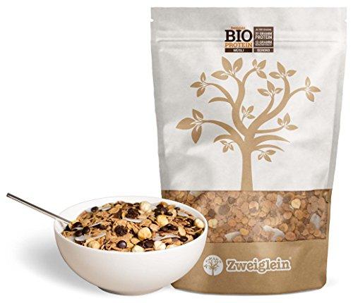 Zweiglein Bio Protein Low Carb Müsli Schoko, 2er Pack (2 x 535g) - 31g Protein und nur 13g Kohlenhydrate je 100g - glutenfrei - lactosefrei