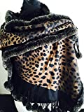 Animal Print Reversible to Black Shawl Encircled with Pom Pom Ends