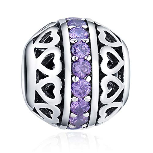 - June Birthstone Charms Purple Crystal Charm Beads 925 Sterling Silver Charms for Bracelets, Birthday Gift for Women Girls
