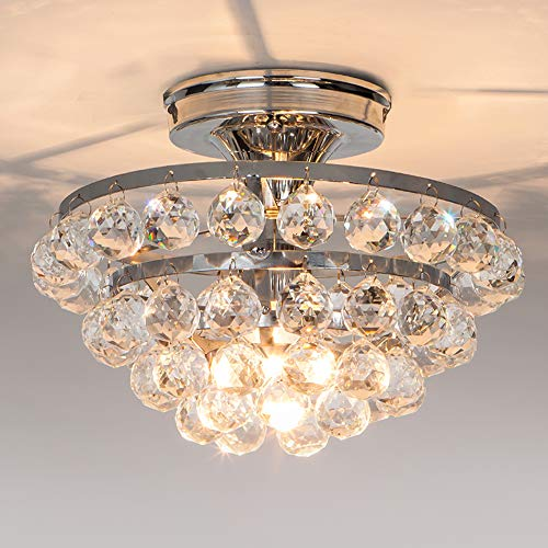 Semi Mount Flush Light 1 (Wtape Mini 1 Light Semi Flush Mount Crystal Chandelier, Ceiling Light Fixture for Bedroom, Hallway, Bar, Kitchen, Bathroom)
