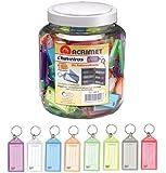 Acrimet Key Tag Jar w/ 120 Keyring Tags (Assorted Colors)