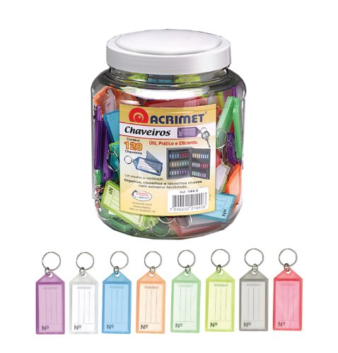 Acrimet Key Tag Jar w/ 120 Keyring Tags (Assorted Colors)