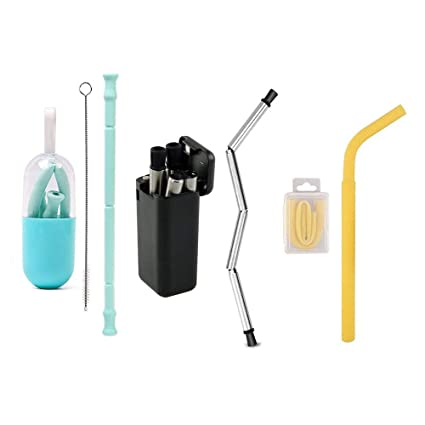 Amazon com: 3 Packs Collapsible Reusable Straws, Folding