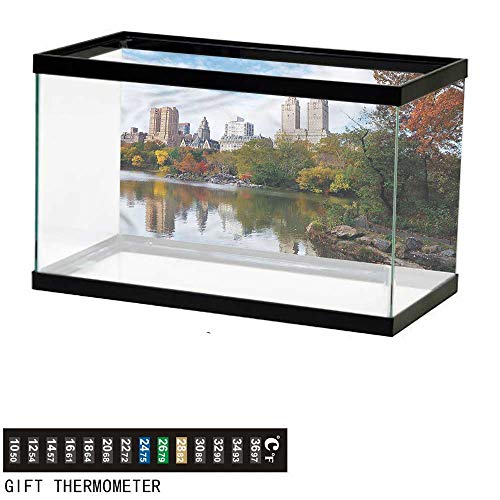 bybyhome Fish Tank Backdrop City,Manhattan Central Park,Aquarium Background,36