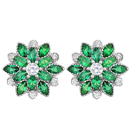 (EleQueen 925 Sterling Silver Full Cubic Zirconia Bridal Flower Stud Earrings 15mm Emerald Color)
