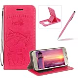 Strap Leather Case for Samsung Galaxy A3 2017 A320,Hot Pink Wallet Flip Case for Samsung Galaxy A3 2017 A320,Herzzer Elegant Classic Solid Color Magnetic Closure Cute Fish Cat Printed Stand Shockproof Card Slots Folio PU Leather Back Case with Soft Silicone