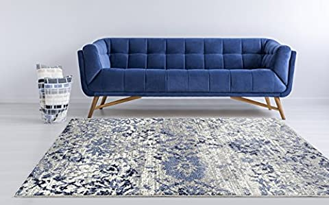 Adgo Ravenna Collection Modern Contemporary Elegant Stylish Floral Design Live Vivid Color Jute Backed Area Rugs Tall Pile Height Soft and Fluffy Indoor Floor Rug, Navy Blue Grey, 3' x (Yellow Grey Blue Area Rug)