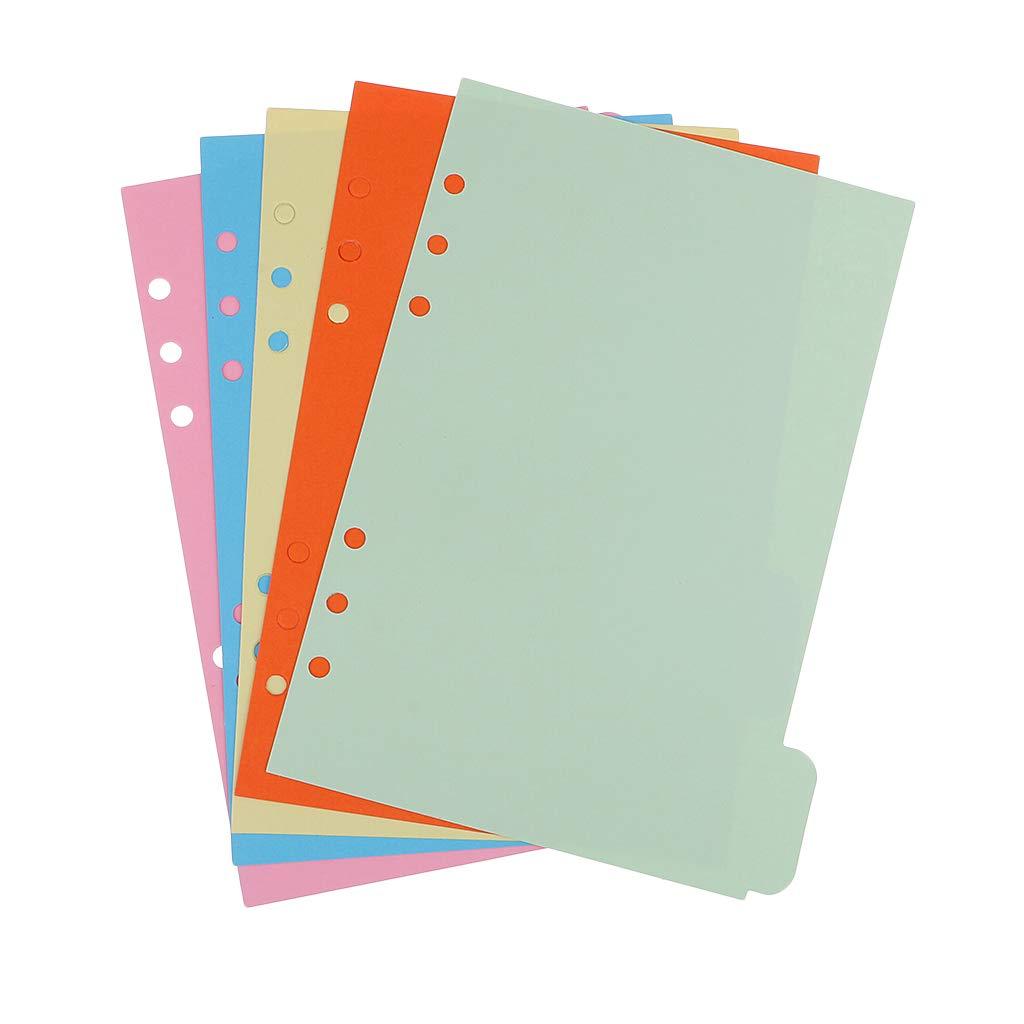 non-brand 5 Fogli per Divisori per Notebook Separatori di Carta Multicolore