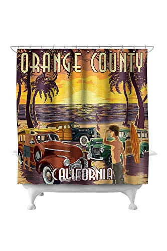 Lantern Press Orange County, California - Woodies and Sunset 43489 (74x74 Polyester Shower Curtain) (Pottery Barn County Orange)