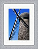 A Wind Turbine Framed Art Print Wall Picture, Flat Silver Frame, 19 x 24 inches