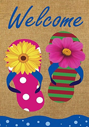 Flip Flop Welcome Summer Burlap Garden Flag Nautical Floral 12.5
