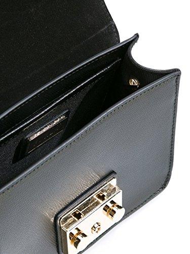 Furla Damen 820676 Schwarz Leder Schultertasche