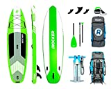 iROCKER Cruiser Inflatable Stand Up Paddle Board 10'6'' Long 33'' Wide 6'' Thick SUP Package | Green - 2019