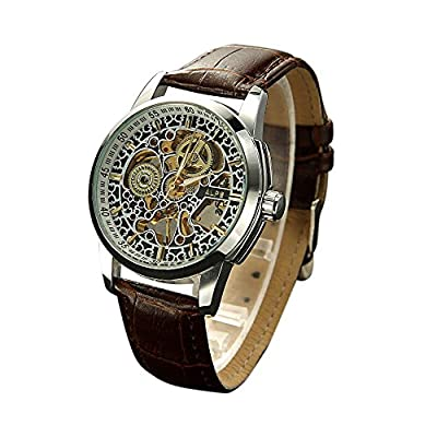 ALPS Men's Luxury Skeleton Hand Wind Automatic Brown Leather BandWatch