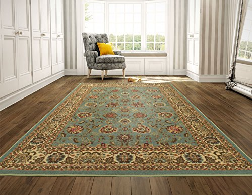 (Ottohome Collection Persian Style Rug Oriental Rugs Sage Green/Aqua Blue Area Rug (8'2