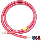 10FT Red AWG 2/0 Battery Interconnect Copper Cable 3/8'' w/ Lugs Battery Banks, Off Grid, Solar Power, Backup Grid, RV, SLA AGM Deep Cycle, Golf Cart, Emergency Systems DURABLE ASSEMBLED IN THE USA