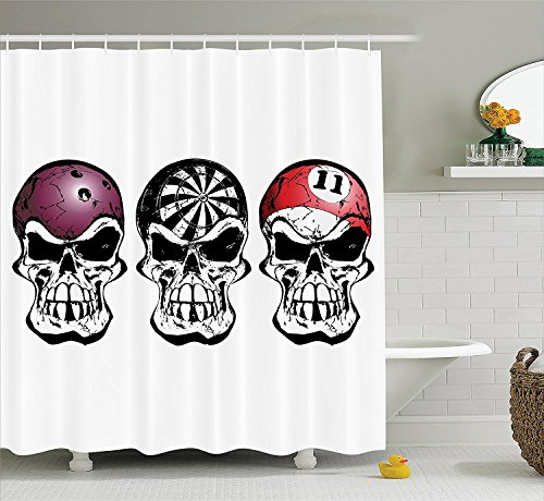 [Manly Decor Collection Bowling Darts and Billiard Skulls Skeleton Angry Horror Pirate Jolly Roger Nightclub Image Polyester Fabric Bathroom Shower Curtain Set with Hooks Black] (Billiard Girl Costume)