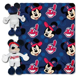 MLB Cleveland Indians Pitch Crazy Co-Branded Disney's Mickey Hugger and Fleece Throw Set