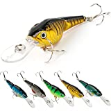 YONGZHI Fishing Lures Multi-Jointed Wobbler Crankbait Minnow and Popper Diving Topwater Lure with Treble Hooks for Bass Trout Walleye Freshwater Saltwater Swimbaits