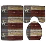 HOMESTORES Wood Texas Flag Bath Mat Bathroom Carpet Rug Washable Non-Slip 3 Piece Bathroom Mat Set
