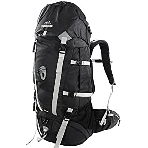 65l Backpack - Multi-day Pack for Hiking, Backpacking with Rain Cover - Black/Gray