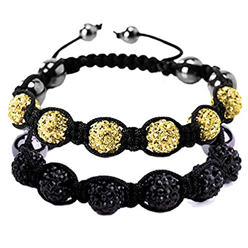- BodyJ4You 2PCS Disco Ball Bracelets 6 Beads Black Yellow Pave Crystals Iced Out Jewelry