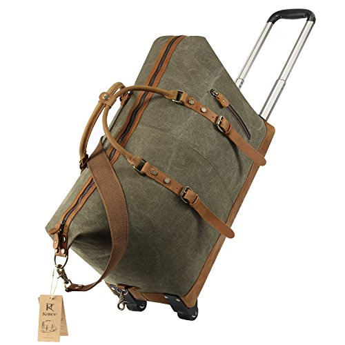 Kattee luggage rolling duffel bag leather trim canvas wheeled carry on travel ebay for Leather luggage wheeled duffel