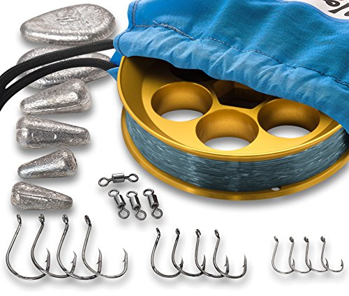 Yoyito Freshwater Aluminum Hand Line Reel Pocket Emergency Survival Fishing Kit (Gold Reel / 20 lb Smoke Blue line/Blue Case)